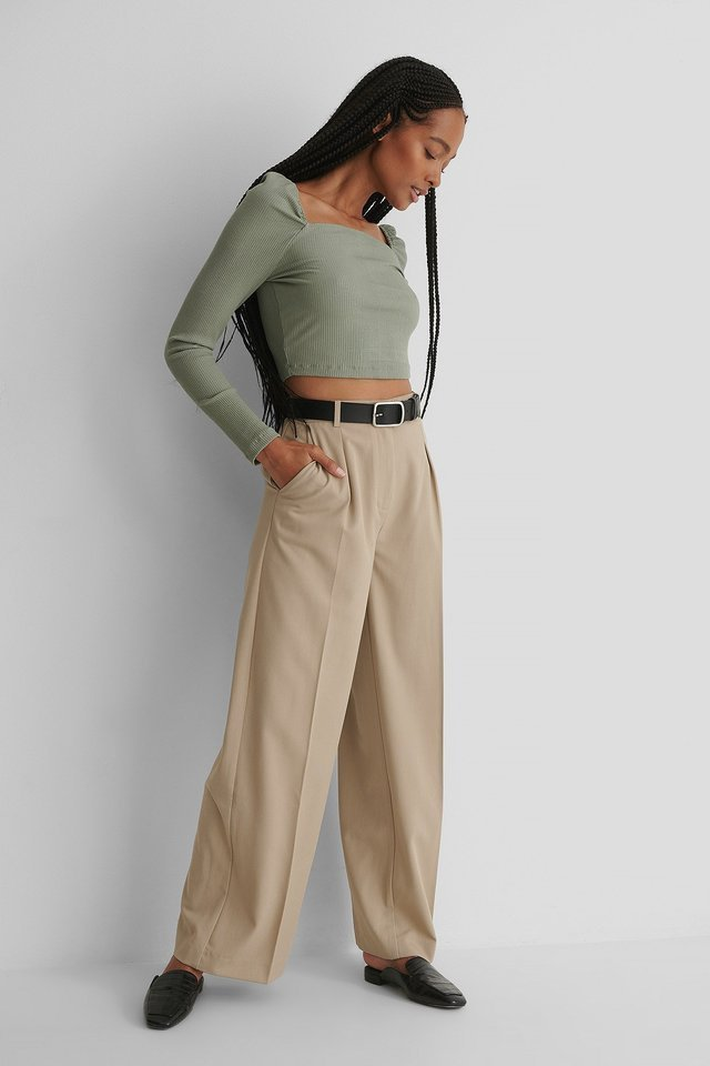 Square Neck Rib Top Outfit.