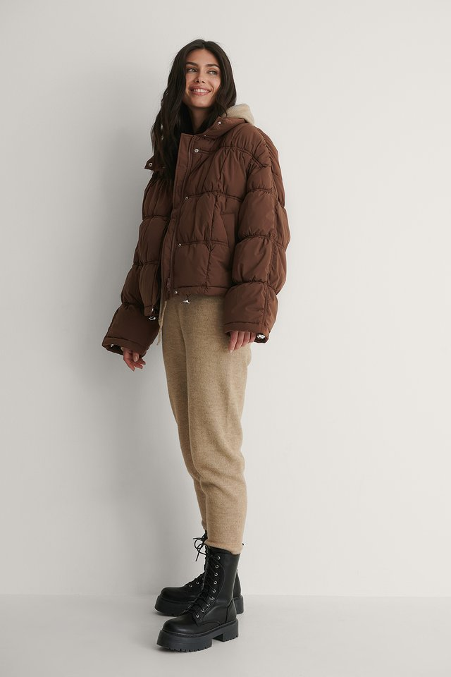 Shirred Detail Padded Jacket Outfit.