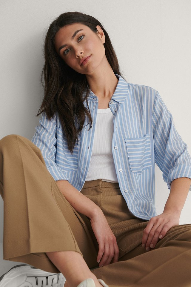 Striped Pocket Soft Shirt Outfit.