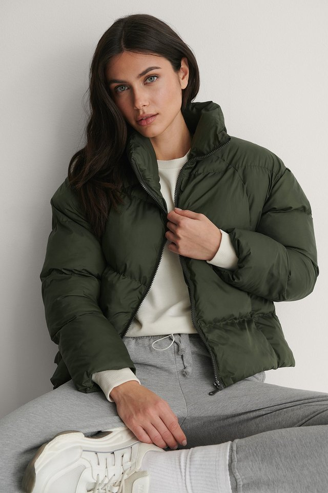Upright Collar Down Puffer Jacket Outfit.