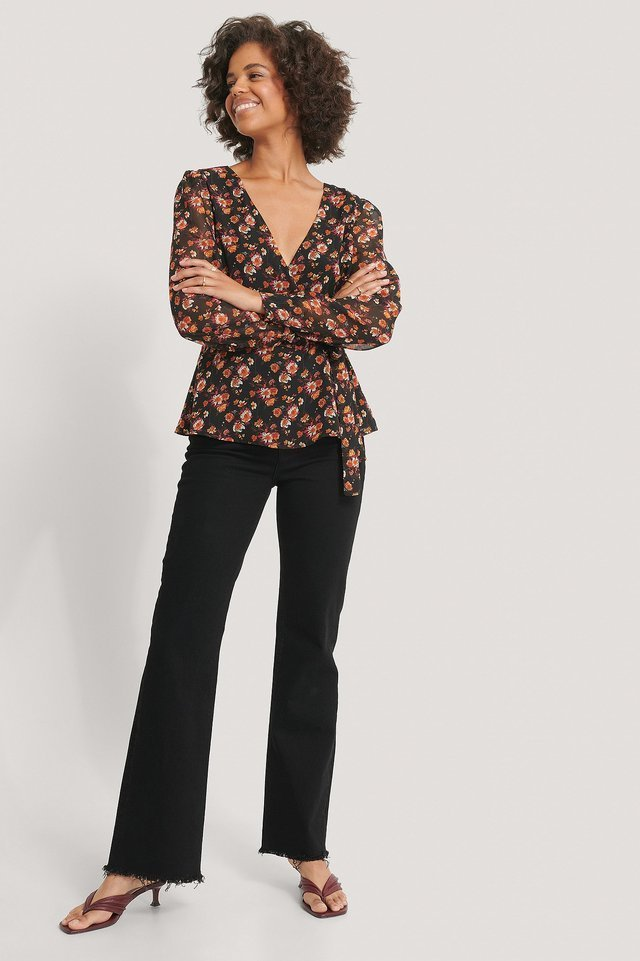 Front Wrap Chiffon Blouse Outfit.