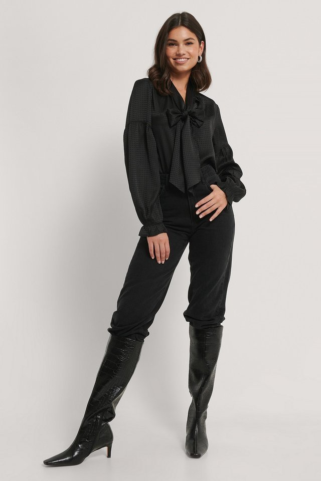 Zara Boe Tie Blouse Outfit.