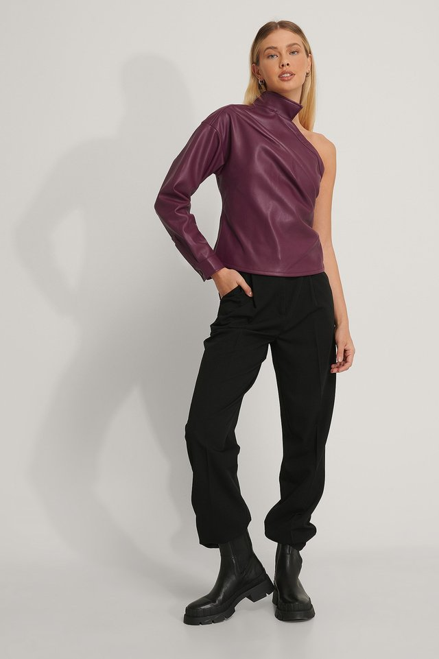 One Shoulder PU Shirt Outfit.