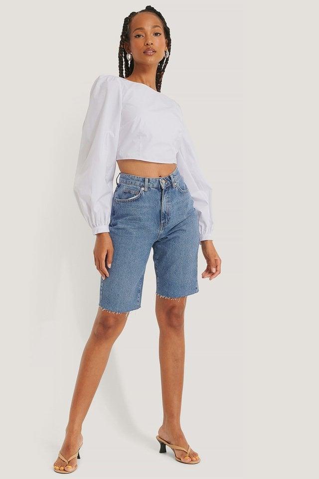 Organic Bermuda Raw Hem Denim Shorts Outfit.