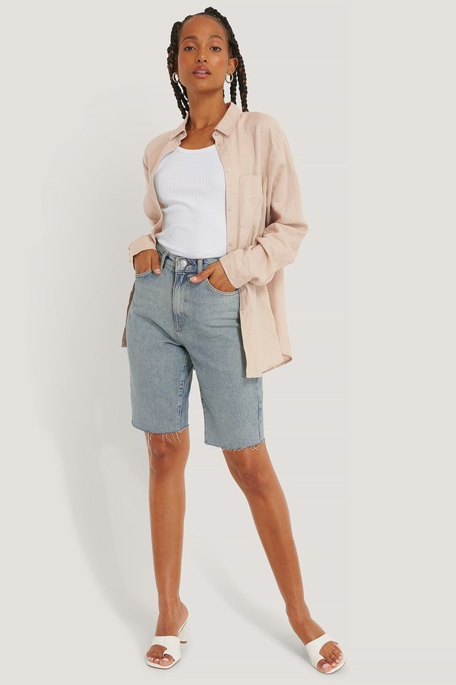 Organic Bermuda Raw Hem Denim Shorts Outfit.