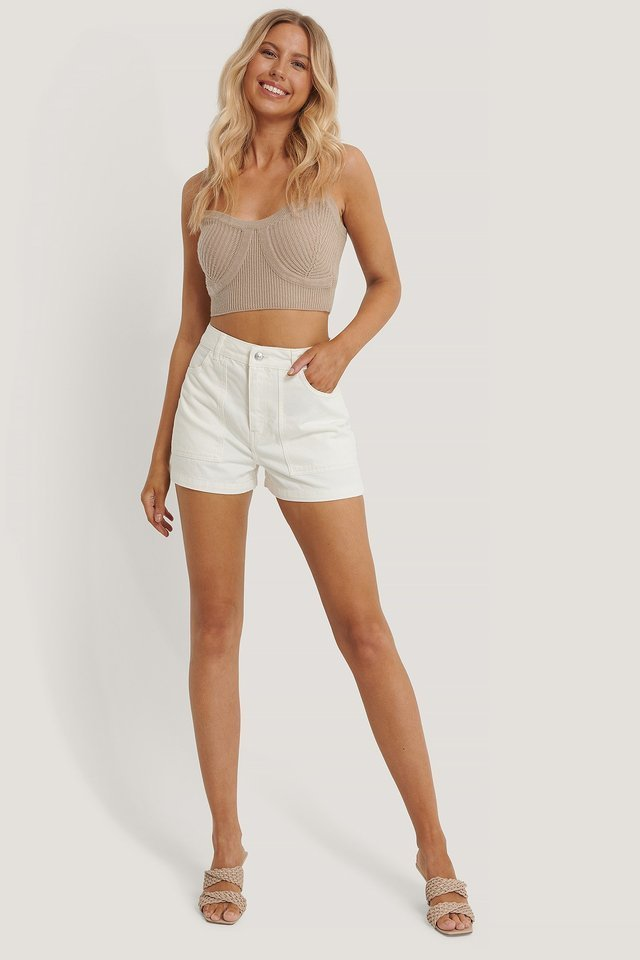 Organic Big Pocket Denim Shorts Outfit