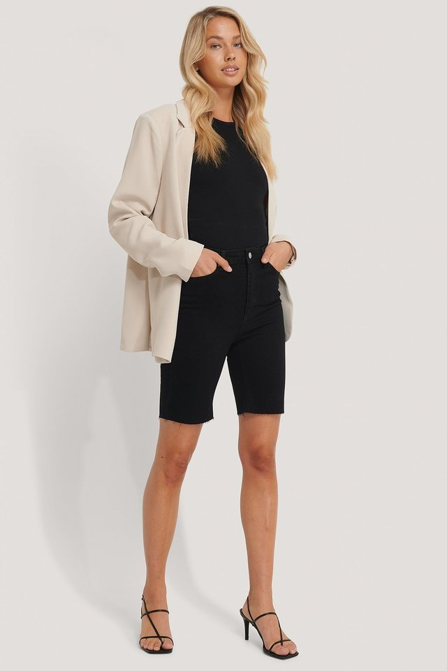 Midi Denim Shorts Outfit.
