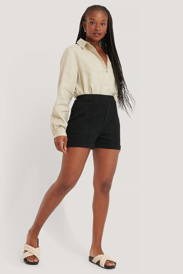 Highwaist Jacquard Shorts Outfit.