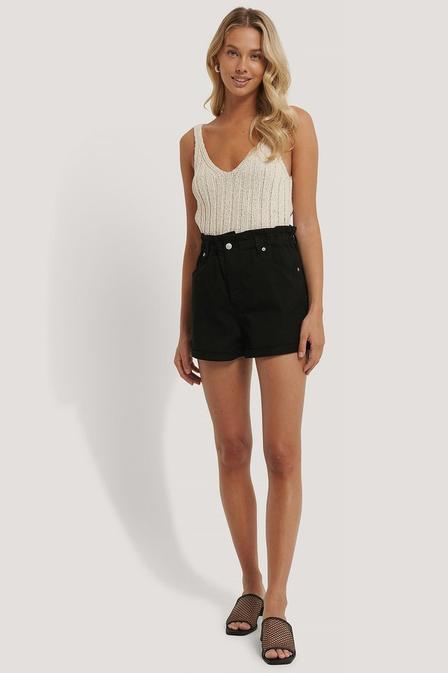 Paper Waist Denim Shorts Outfit.