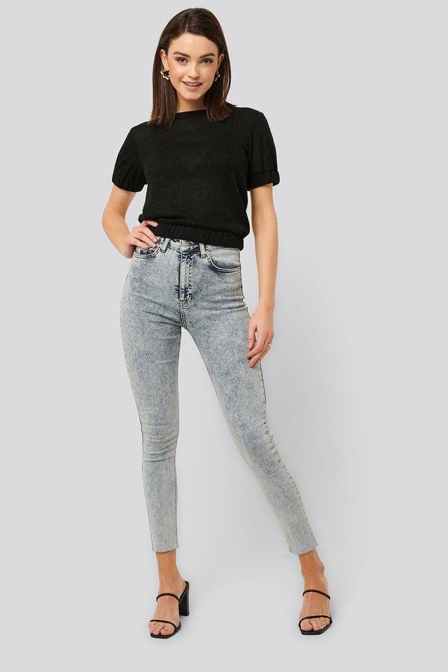 Acid Wash Skinny Jeans Blue.