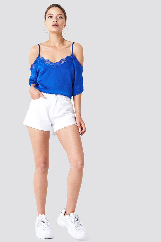 Cold Shouler Lace Top with Shorts