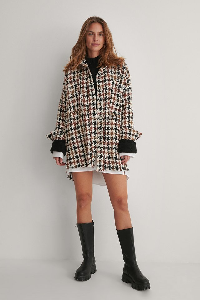 Patterned Oversized Jacket Multicolor.