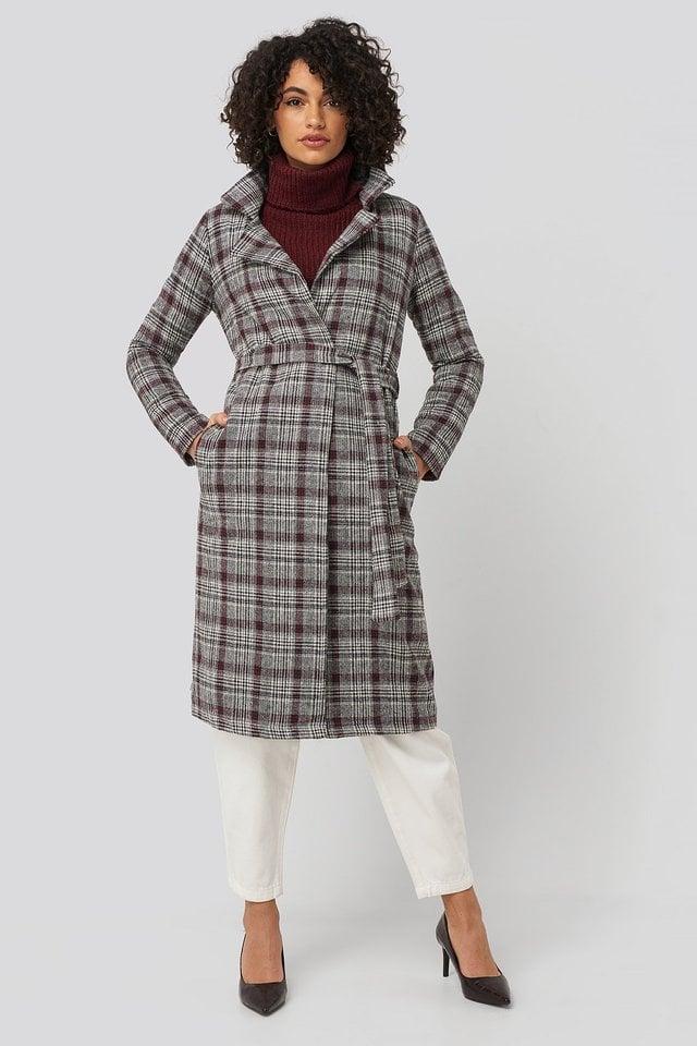 Multi Color Plaid Long Coat.