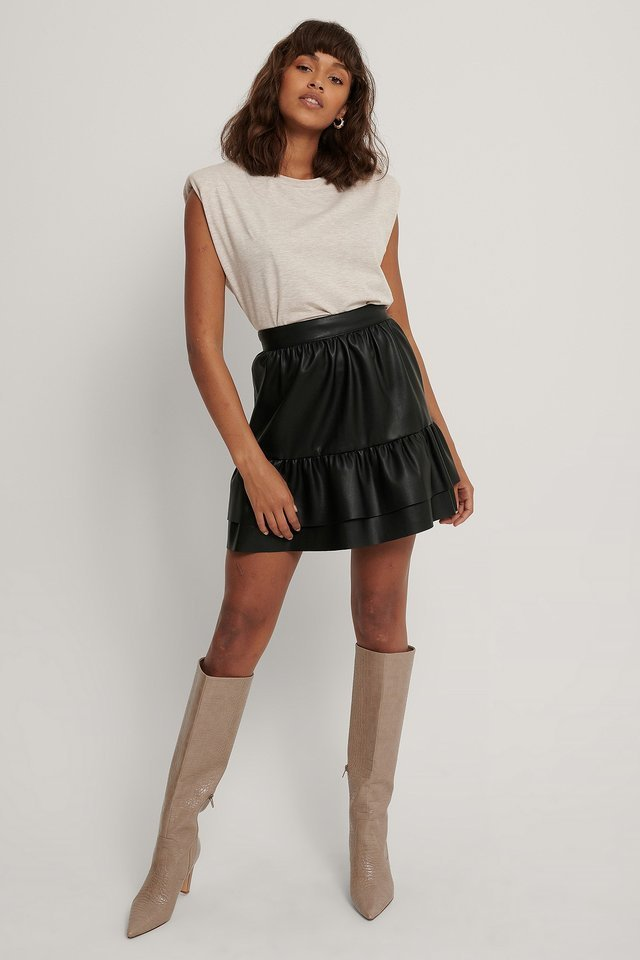 Frill PU Skirt Outfit.