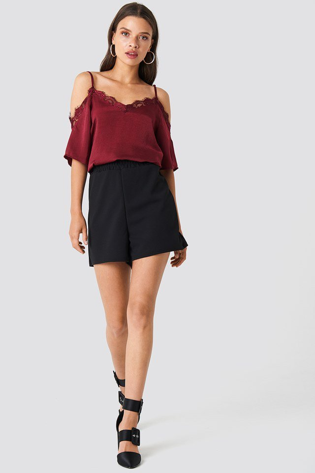 Cold Shoulder Lace Blouse with Shorts