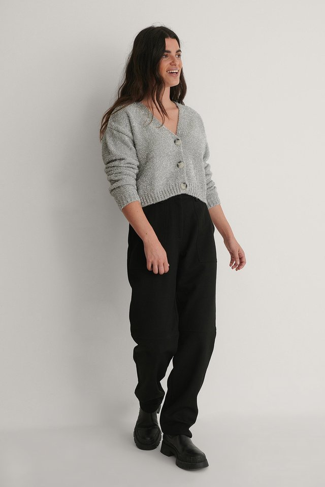 Silvery Knit Cardigan Outfit.