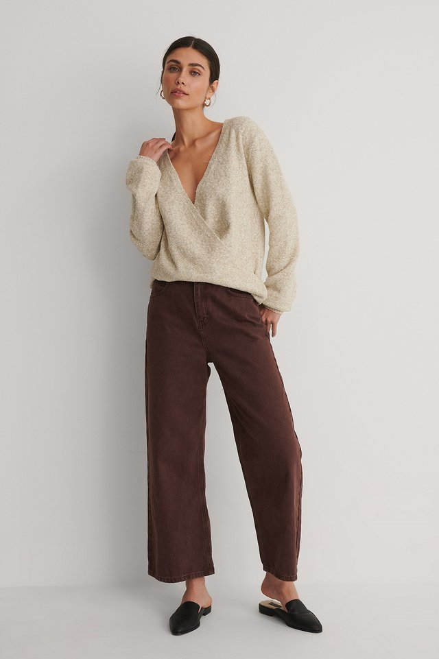 Melange Knitted Overlap Sweater Outfit.