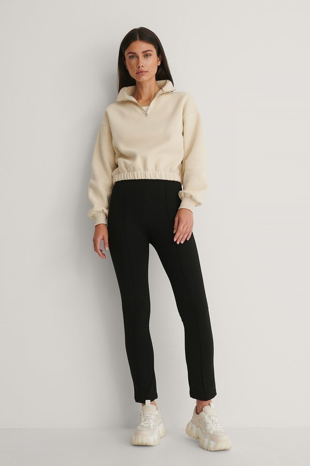 Front Zip Sweater Outfit.