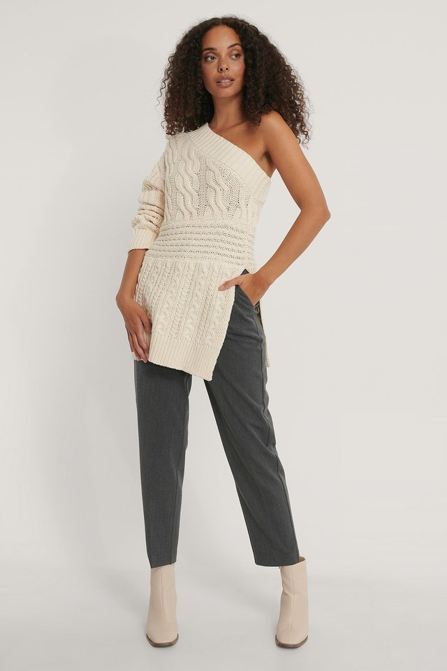Cable Knit One Shoulder Sweater Outfit.