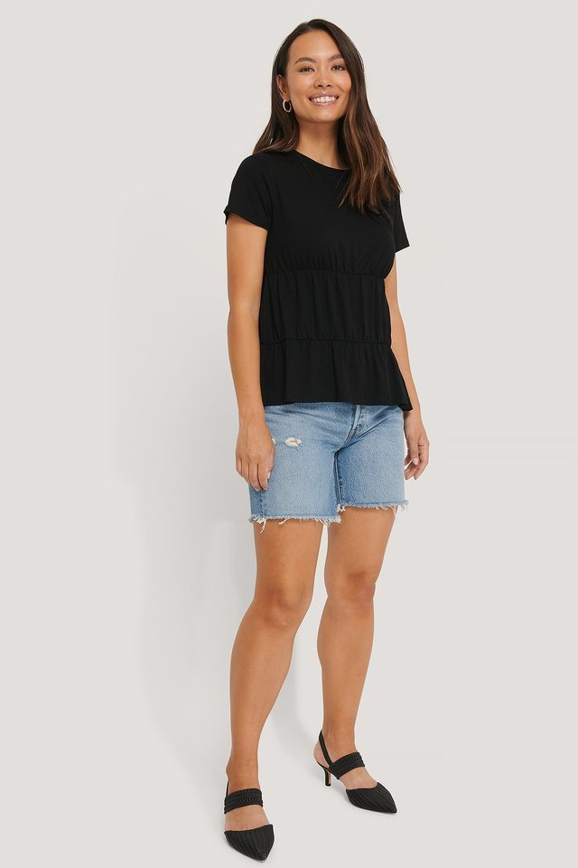 Gathered Hem Round Neck T-shirt Outfit.