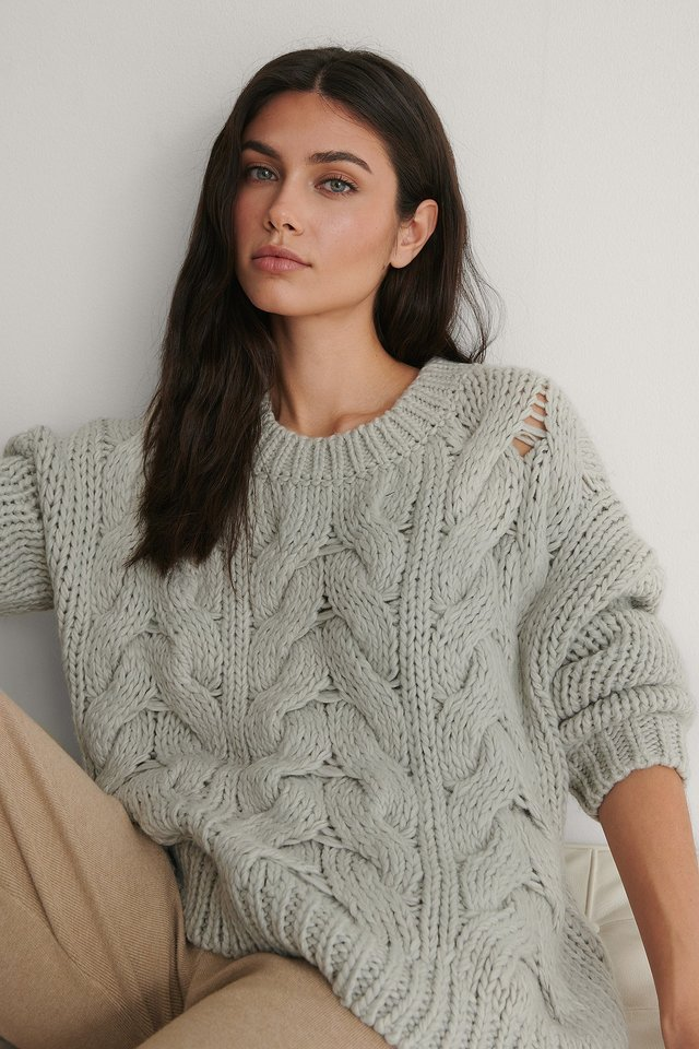 Round Neck Heavy Knitted Cable Sweater Outfit.
