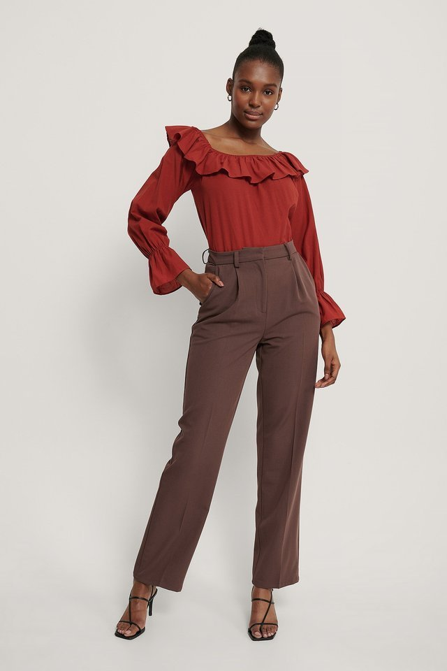 Frilled Wide Neck Blouse Outfit.