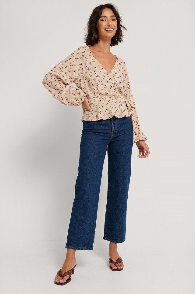 Tie Overlap LS Blouse Outfit.