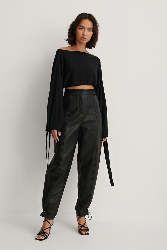 Wide Sleeve Knitted Cropped Top Outfit.