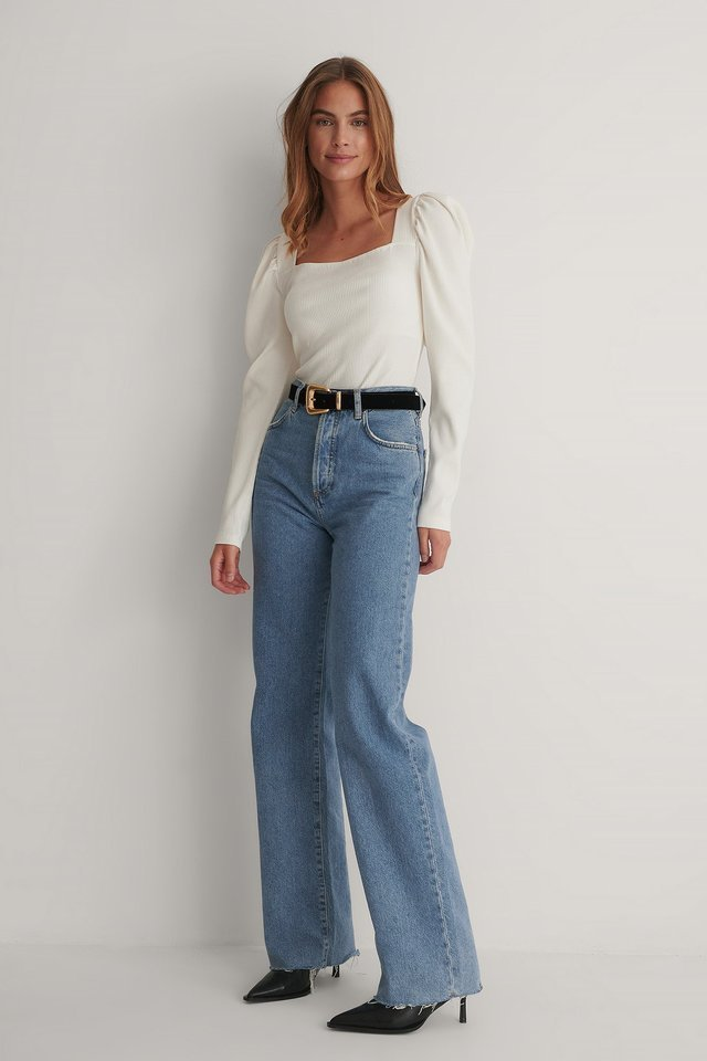 Puff Sleeved Square Neck Top Outfit.