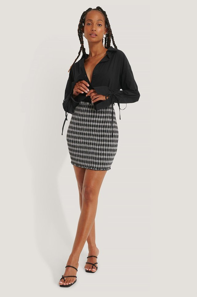Smocked Plaid Mini Skirt Outfit.