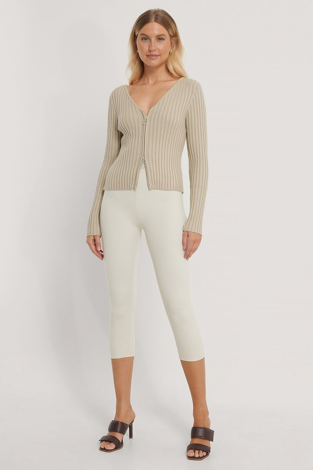Zip Detail Ribbed Cardigan Outfit.