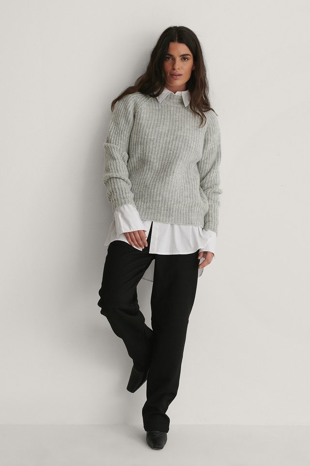 Chenille Turtleneck Sweater Outfit.