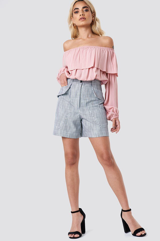 Off Shoulder Ruffle Blouse with Shorts