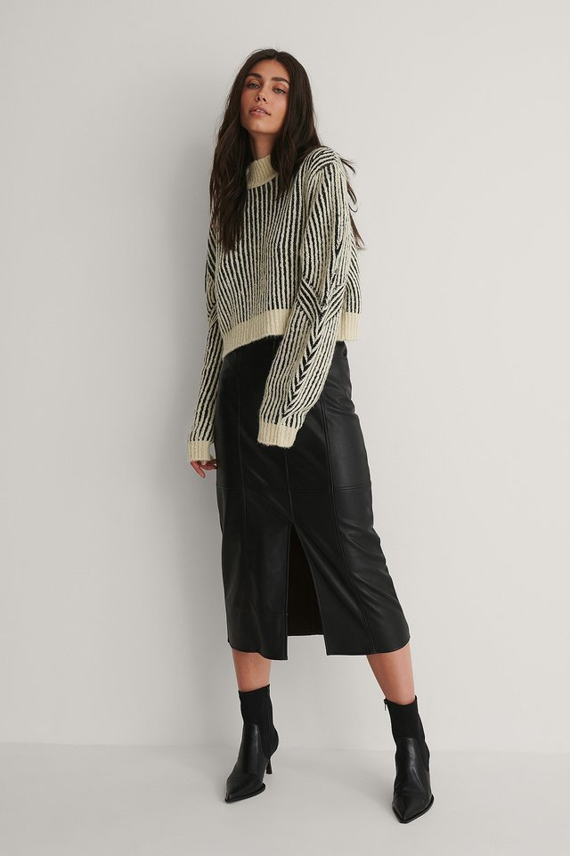 Sleeve Detail Striped Knitted Sweater Outfit.