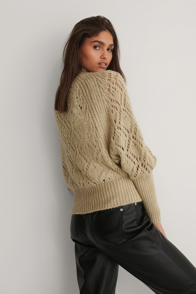 Raglan Sleeve Pointelle Stitch Knitted Sweater Outfit.