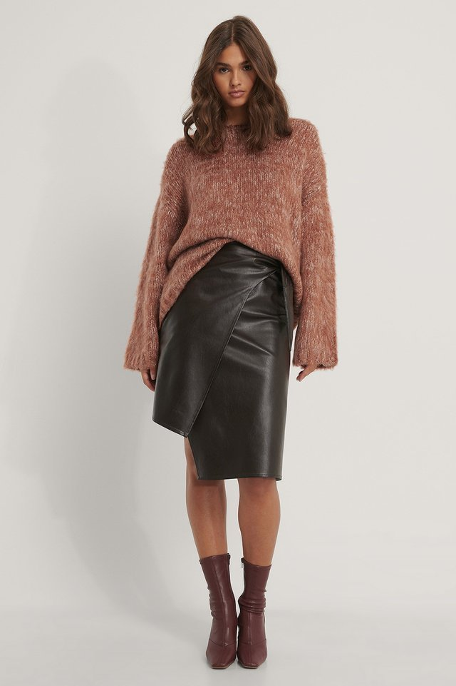 Chunky Knit Melange Sweater Outfit.