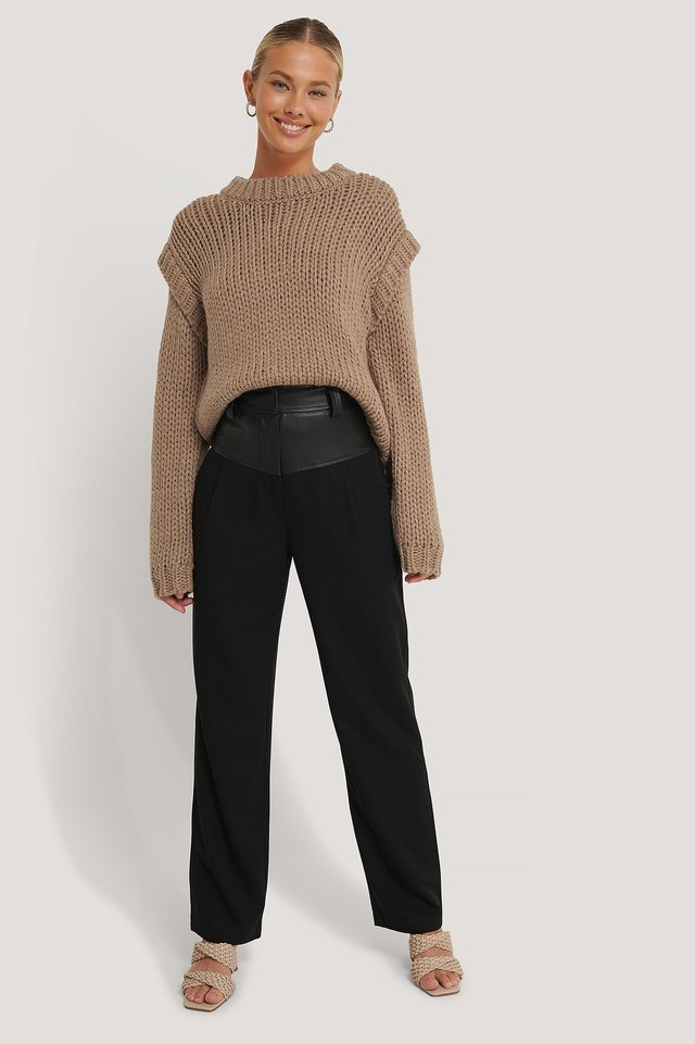Wool Blend Shoulder Detail Knitted Sweater Outfit.