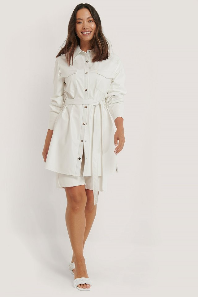 Belted Pu Shirt Dress Outfit.
