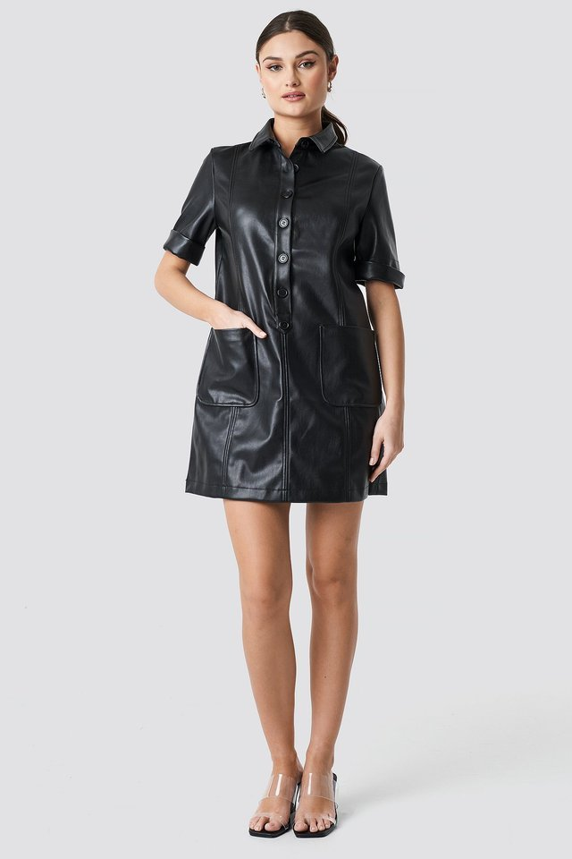 PU Button Up Mini Dress Outfit.