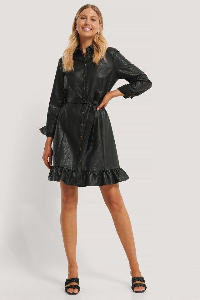 Black PU Midi Dress