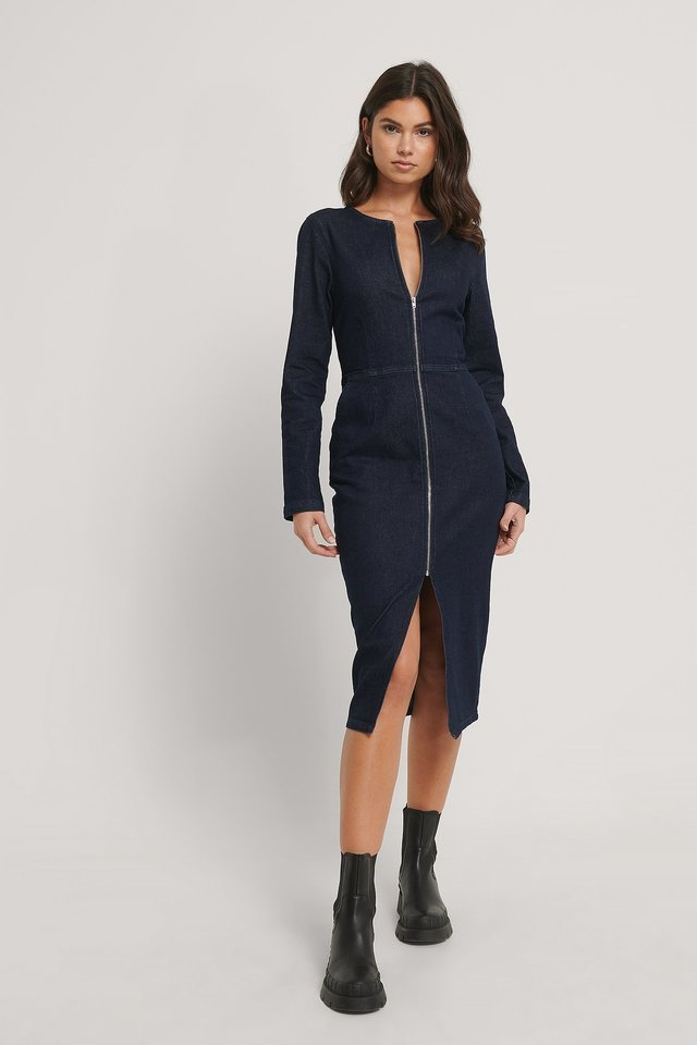 Zip Detail Denim Dress Outfit.