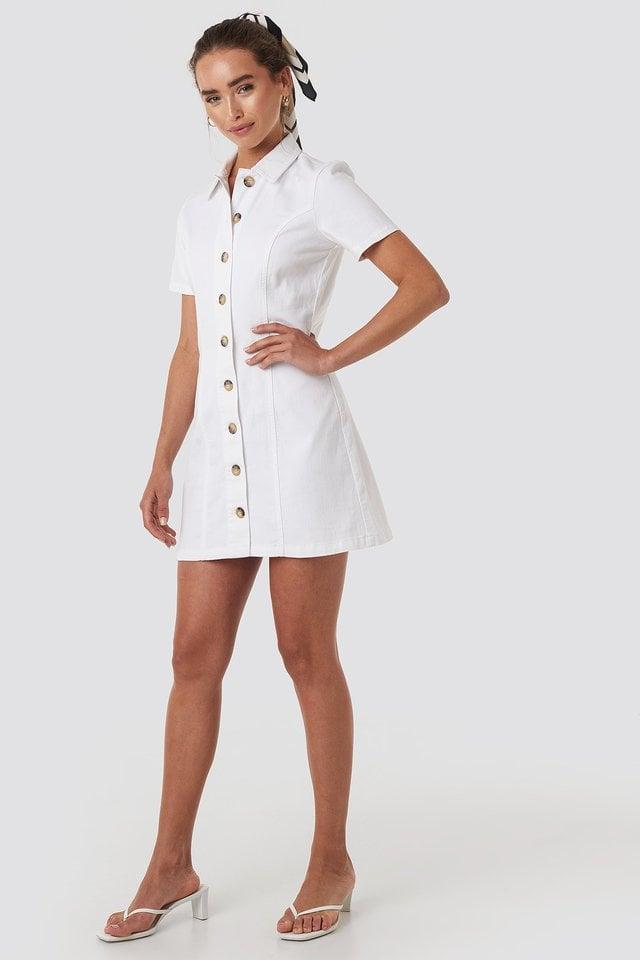 Button Up Denim Mini Dress Outfit.
