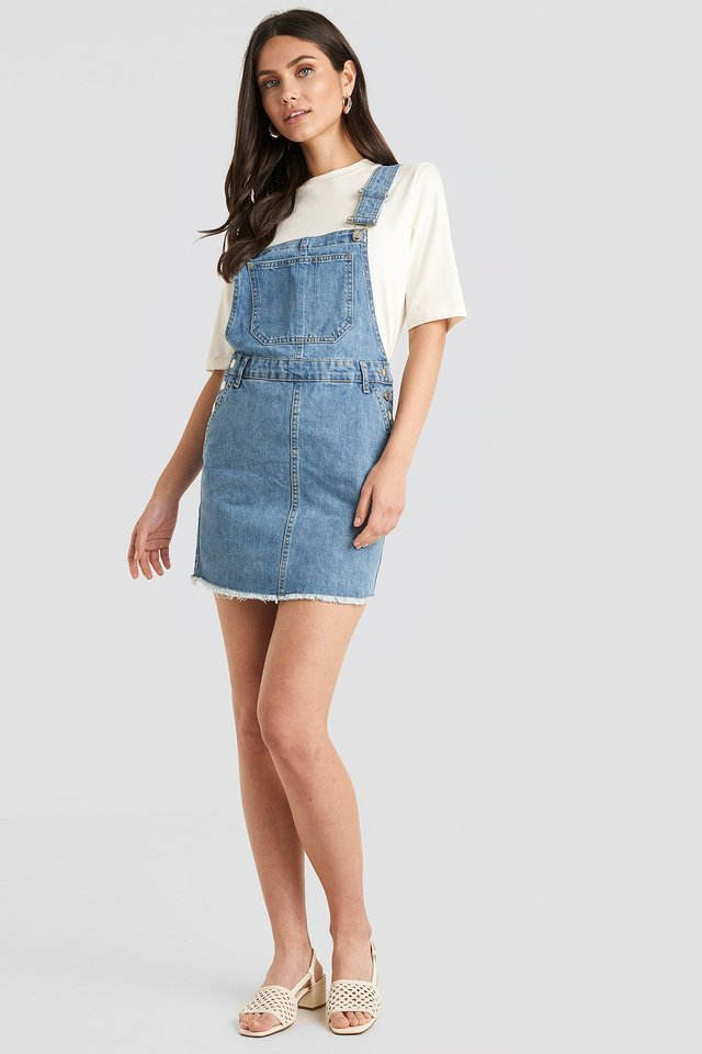 Denim Dungaree Dress Outfit.