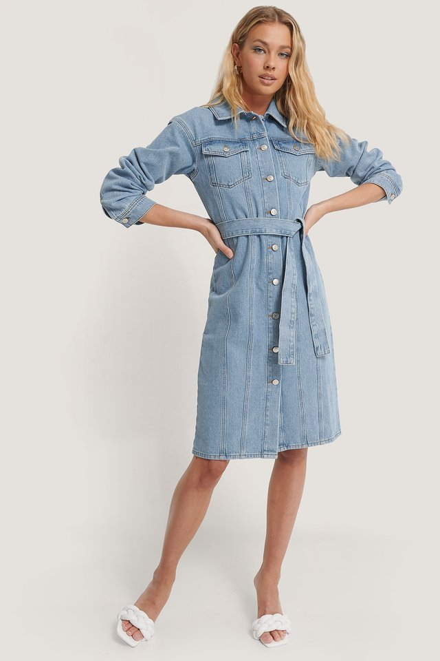 Recycled Belted Denim Dress Outfit.