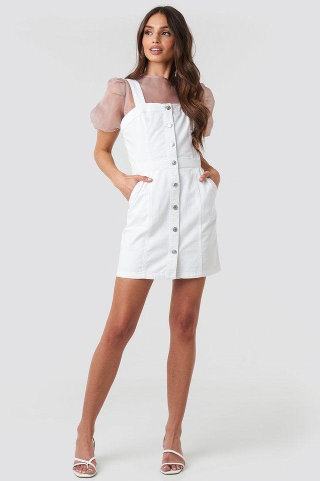Pinafore Mini Denim Dress Outfit.
