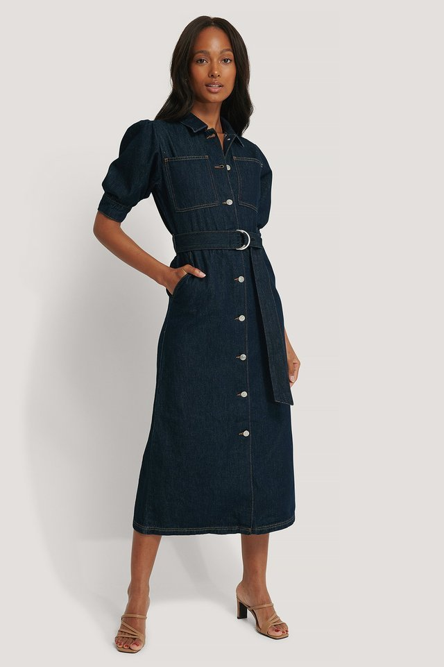 Puff Sleeve Belted Denim Dress Outfit.