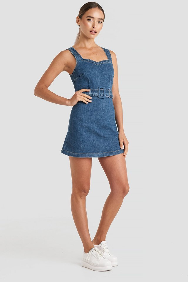 Belted Mini Denim Dress Outfit.