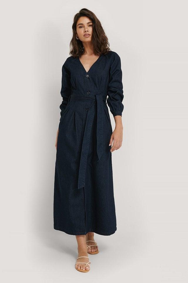 Long Sleeve Denim Dress Outfit.
