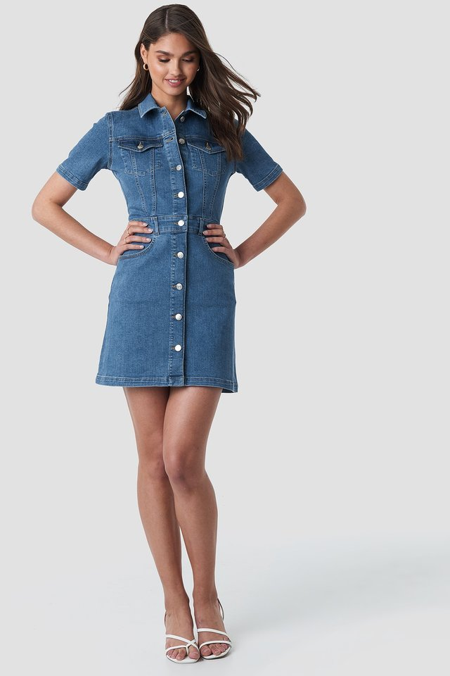 Button Up Mini Denim Dress Outfit.