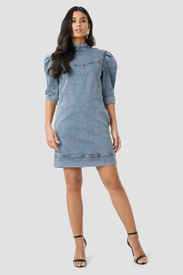 Puff Sleeve Denim Mini Dress Outfit.